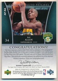 Ray Allen 2004/05 Ud Exquisite On Card Autograph 2 Color Patch Auto Sp #010/100