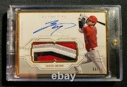 Shohei Ohtani /10 Topps Definitive 2020 Gold Framed Game Used 4 Color Patch Auto