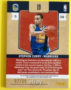 Stephen Curry 2010-11 Panini Classics 4 Color Game Used Patch Auto 07/25