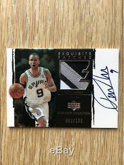 TONY PARKER 2003 Exquisite 3 color patch auto /100 Spurs Finals MVP