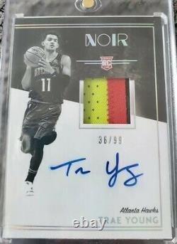 Trae Young 2018-19 Panini Noir Rookie Patch Auto RPA On-Card 36/99 3 Color RPA